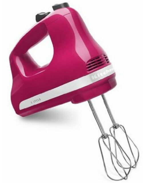 KitchenAid Made In USA 5 Speed Ultra Power Hand Mixer Khm512cb Cranberry