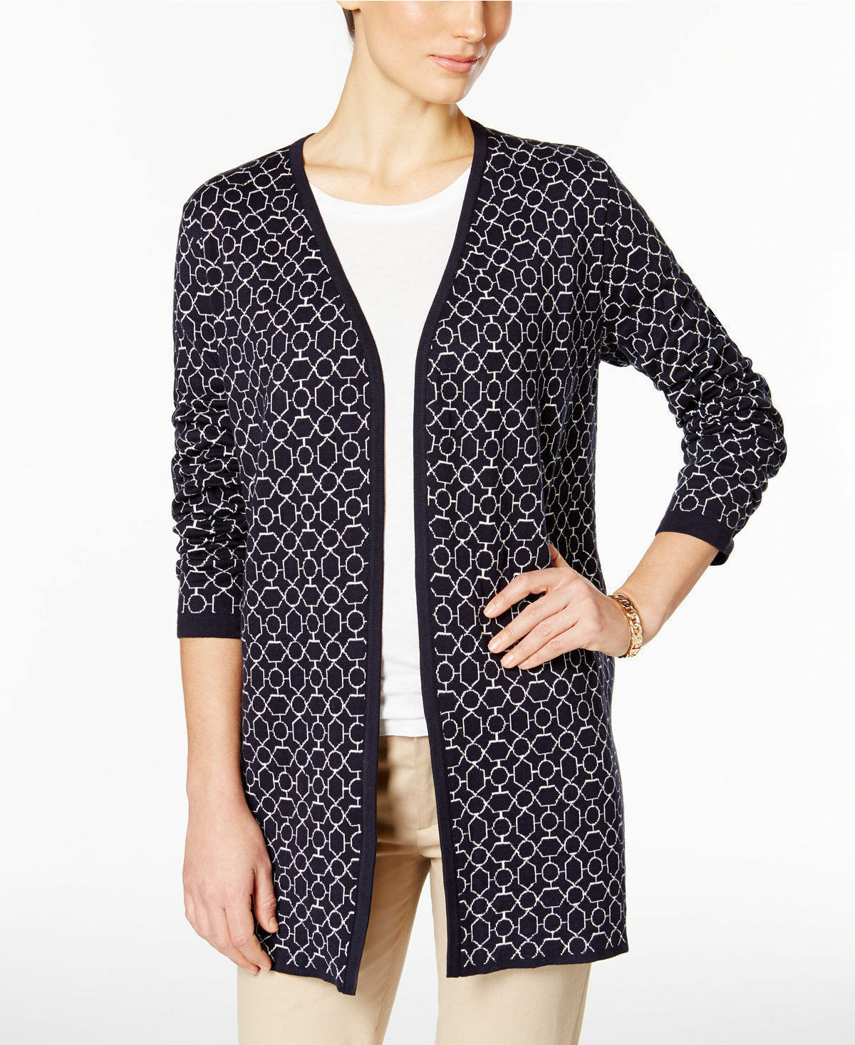 Charter Club 9855 Size Small S Womens Navy Printed Cardigan ...
