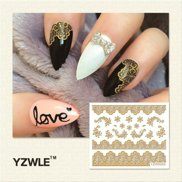 3d Nail Art Stickers Decals Metallic Gold Lace Flowers Floral GEL ...