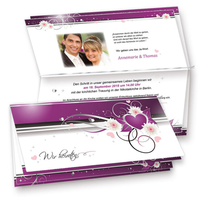 NEU Einladungskarten Hochzeit Lila Herzen Einladung Selbst Bedruckbar  Umschläge