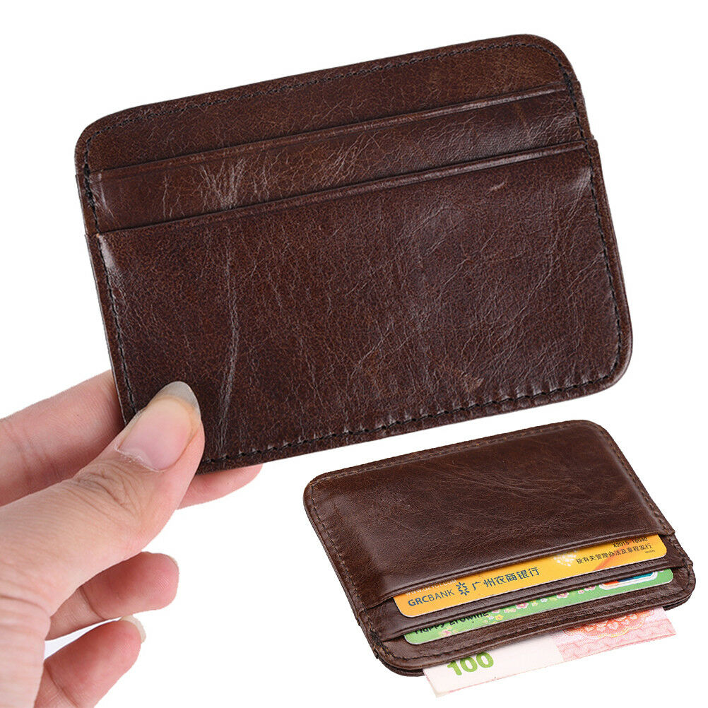 Mens genuine leather wallet slim money clip credit card holder id picture 1 of 9 magicingreecefo Choice Image