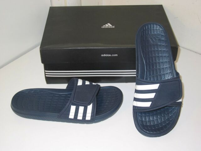Adidas alquo equipo Custom diapositivas sandalias chanclas Navy & White