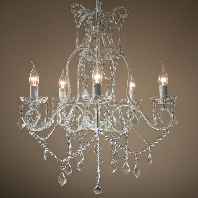 French Provincial Chandelier Large Shabby Paris Gl Crystal 5 Arm Lights New