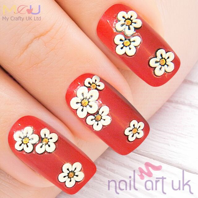 White Flower and Gold Glitter Nail Stickers Decals Art 01.01.004   eBay