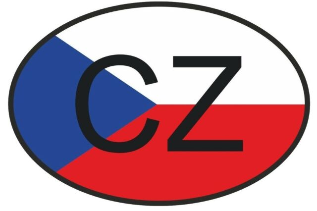 Cz czech republic country code oval with flag bumper sticker laptop sticker