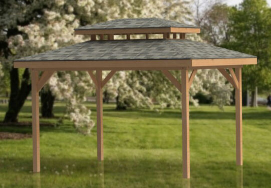 12 39 x 16 39 double hip roof gazebo building plans for hot for Double hip roof design