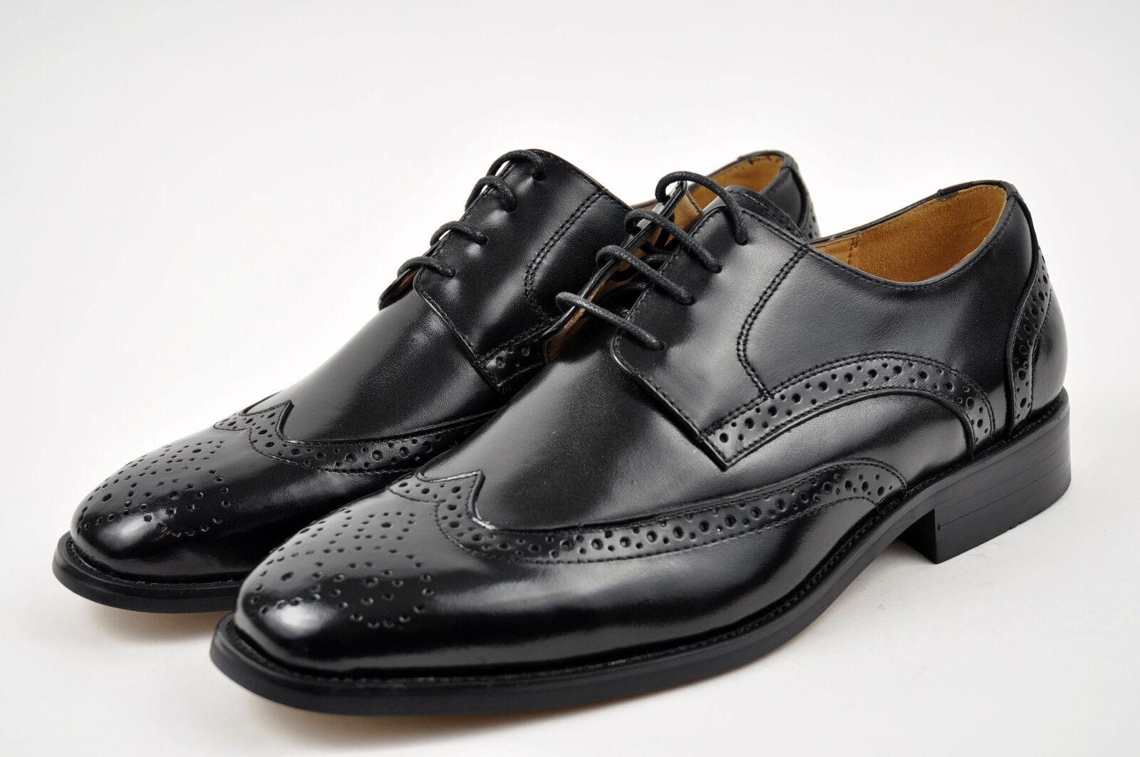 la milano mens black genuine leather dress shoes lace up wingtip