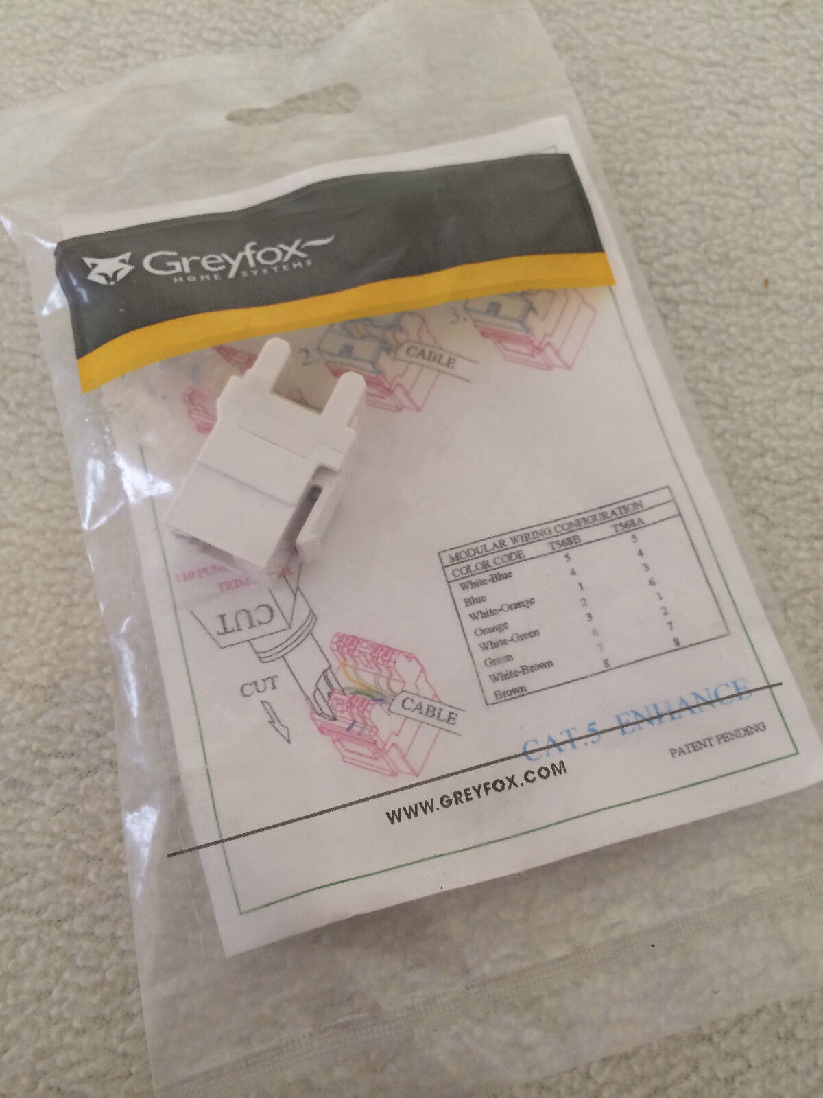 Greyfox F3450 Wh Cat 5e Rj45 Modular Keystone Connector White Cat5e Jack Wiring Picture 1 Of 4