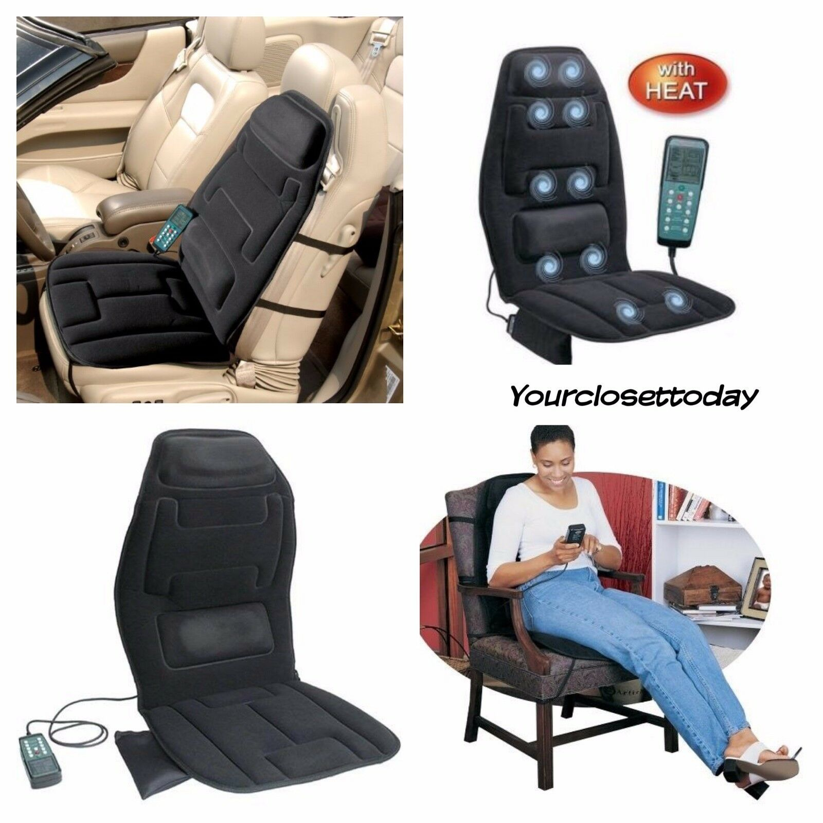 Massage Seat Cushion With Heat Portable Vibrating Back Pad Chair