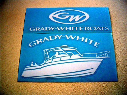 Grady white vinyl window stickers