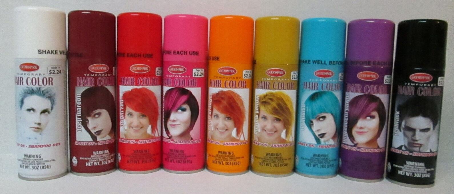 Goodmark Temporary Hair Color Grey Spray On Shampoo Out Party 3oz