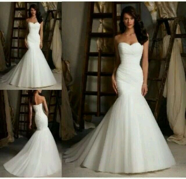 White/ivory Organza Mermaid Wedding Dress Bridal Gown Size 6 16 UK ...