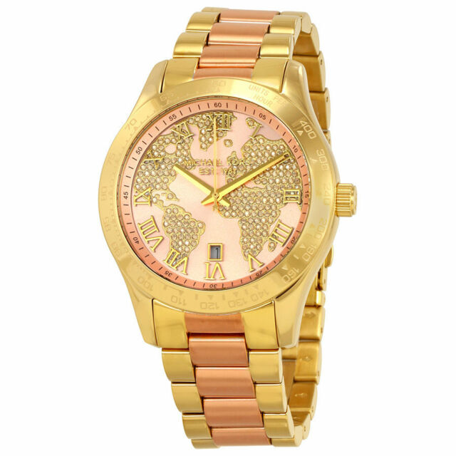 Michael kors womens mk6476 world map crystal two tone stainless michael kors mk6476 layton crystal two tone stainless steel womens watch gumiabroncs Images
