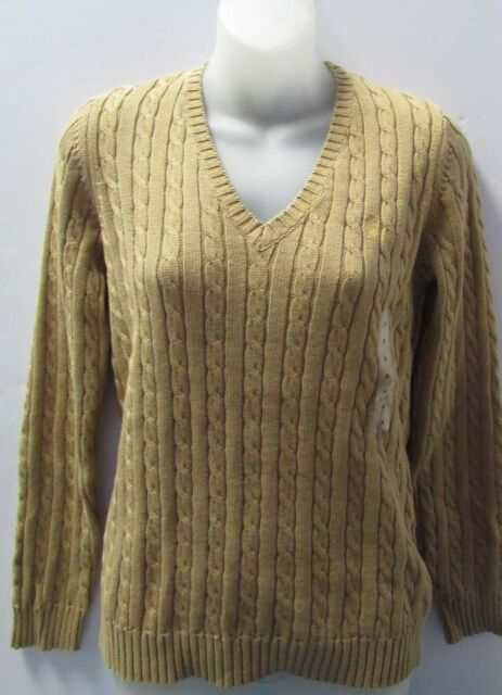 Ralph Lauren Sweater Womens Cable Knit V Neck Pullover Lrl Monogram