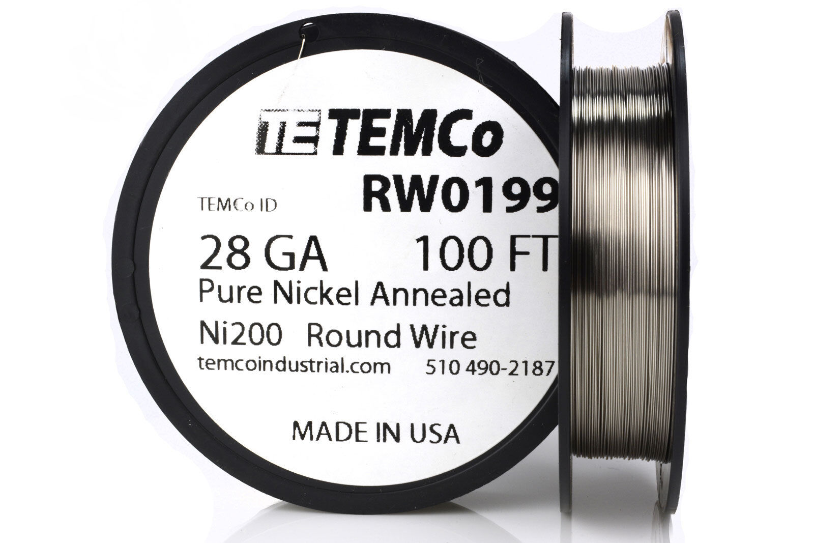 Temco Pure Nickel Wire 28 Gauge 100 FT Non Resistance AWG Ni200 ...