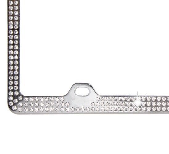 Embedded Clear Crystal Bling Rhinestone License Plate Frame W ...