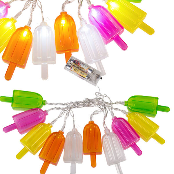 10 LED ICE LOLLY COLOUR FAIRY LIGHT NOVELTY LIGHTS INDOOR STRING PARTY DECO NEW