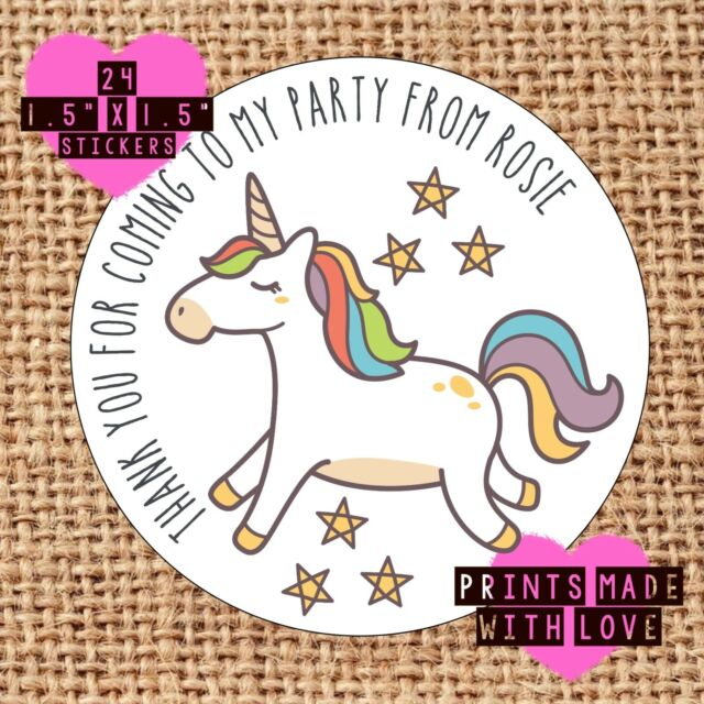 Personalised unicorn 24 party bag stickers sweet cone labels thank you stars