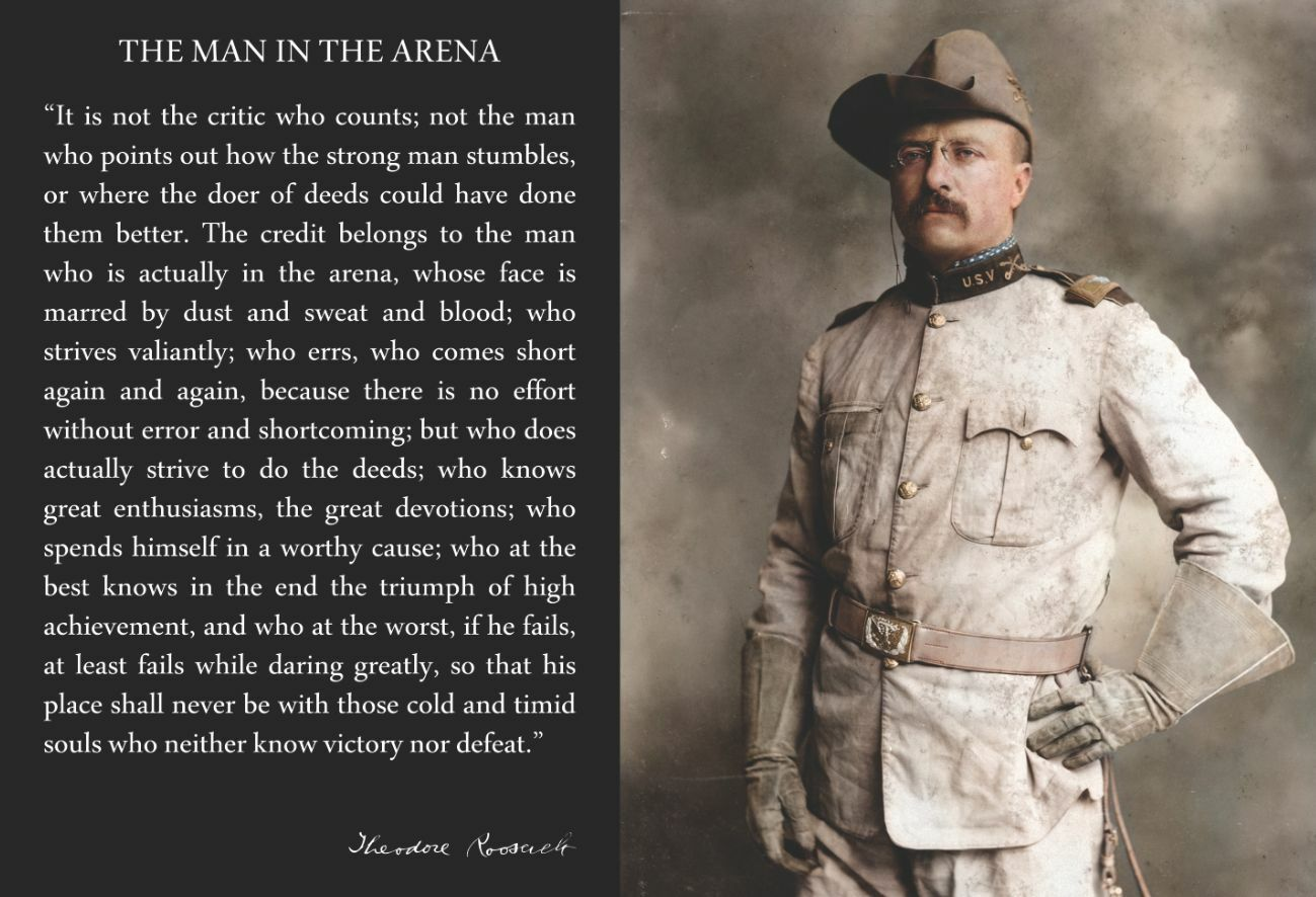 Teddy Roosevelt Quote Theodore Teddy Roosevelt 13X19 Poster With The Man In The Arena