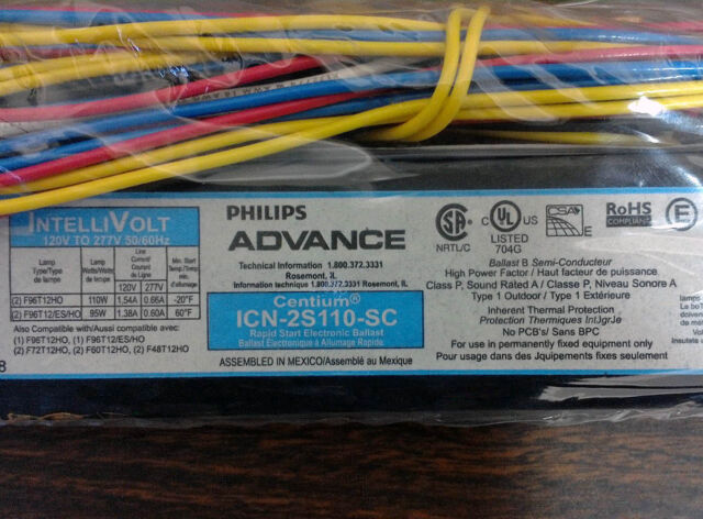 philips advance icn2s110sc electronic ballast t12 lamps 120 277v ebay rh ebay com Schematic Circuit Diagram Residential Electrical Wiring Diagrams