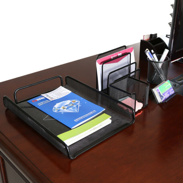 Desk Organizer Black Mesh Metal Desktop Office Pen Pencil Holder Tray  Storage