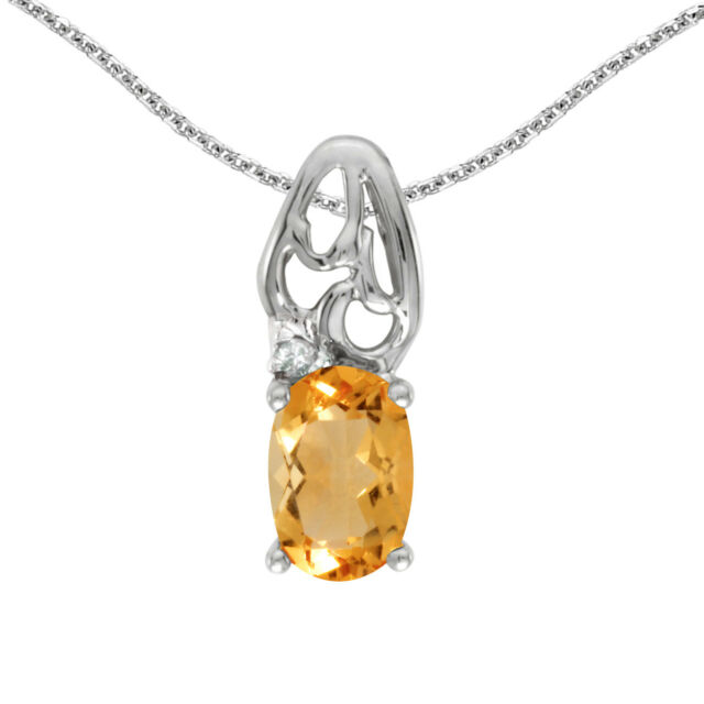 10k white gold oval citrine and diamond pendant with 18 chain ebay 10k white gold oval citrine and diamond pendant with 18 chain aloadofball Images