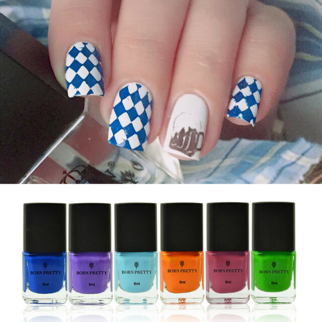 6 Bottles 6ml Born Pretty Stamping Stamp Plate Polish Nail Art ...