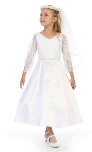0441127304e Chic Baby White Flower Girls Lace Satin First Communion Dress 3 4 Sleeves  Wedding Party