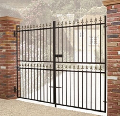 Wrought iron metal double driveway gates castle10ftx6ft ebay for Aluminum driveway gates prices