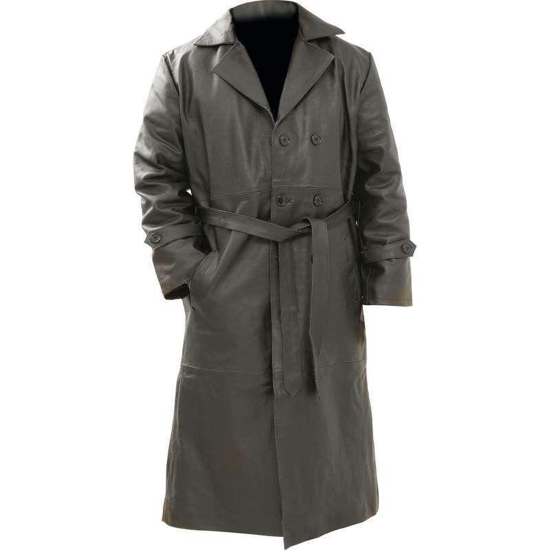 Mens Black Solid Buffalo Leather Full Length Trench Coat W Belt Long Over Jacket