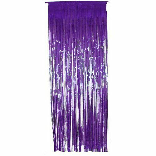 Pack Of 5 Shimmer Foil Door Curtains For Party Decorations Purple