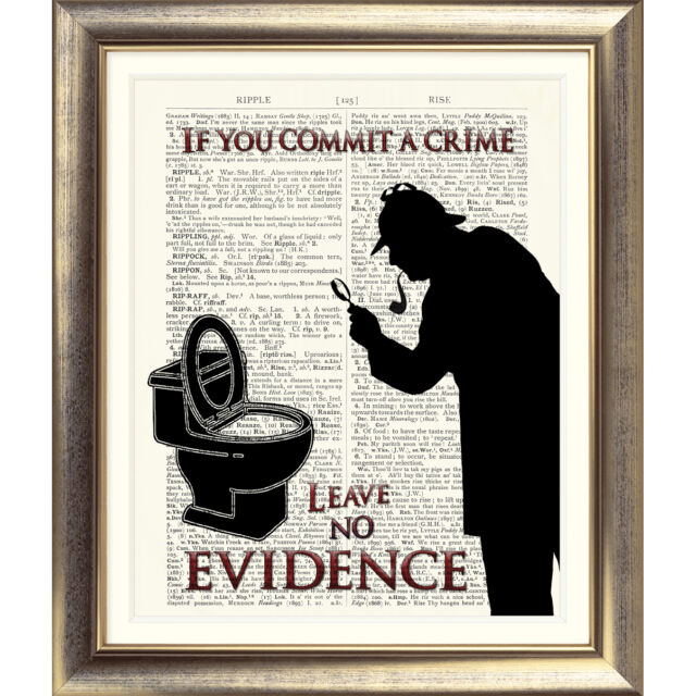 Funny Toilet Bathroom Sign Conan Doyle Sherlock Holmes Art