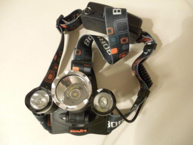Kopflampe Cree LED, Boruit, 3 LEDS mit 2 Akku`s, Autoladekabel, Netzstecker