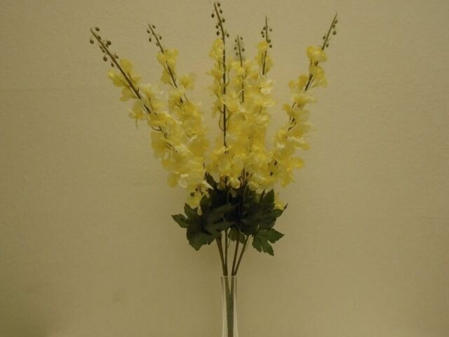 6 1056lyl 1056lyl phoenix silk lite yellow delphinium bush lite yellow delphinium bush artificial silk flowers 28 bouquet 6 1056lyl mightylinksfo