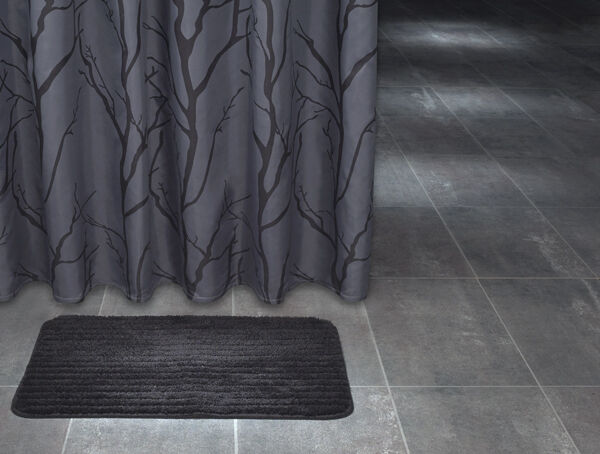 Extra Long Polyester Fabric Shower Curtain 180 X 200 Cm Dark Grey Tree Design