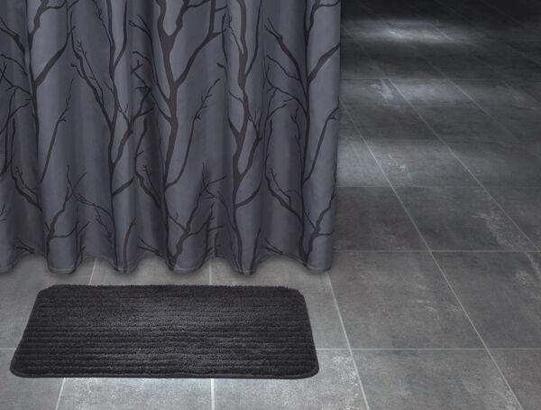 Extra Long Polyester Fabric Shower Curtain 180 X 200 Cm Dark Grey Tree Design