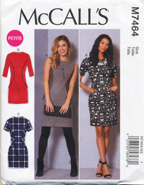 MCCALL'S SEWING PATTERN 7464 MISSES SZ 6-14 FITTED DRESSES WITH SIDE PANELS
