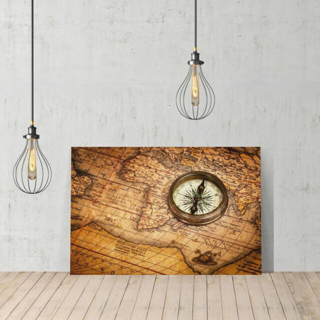 Decorative Canvas Print United Old World Map Wall Décor Ready To Hang