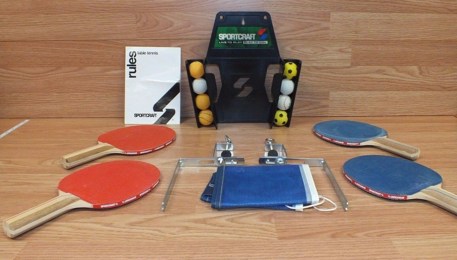 Sportcraft 4 Player Table Tennis Ping Pong Paddle 8 Balls Net Post ...