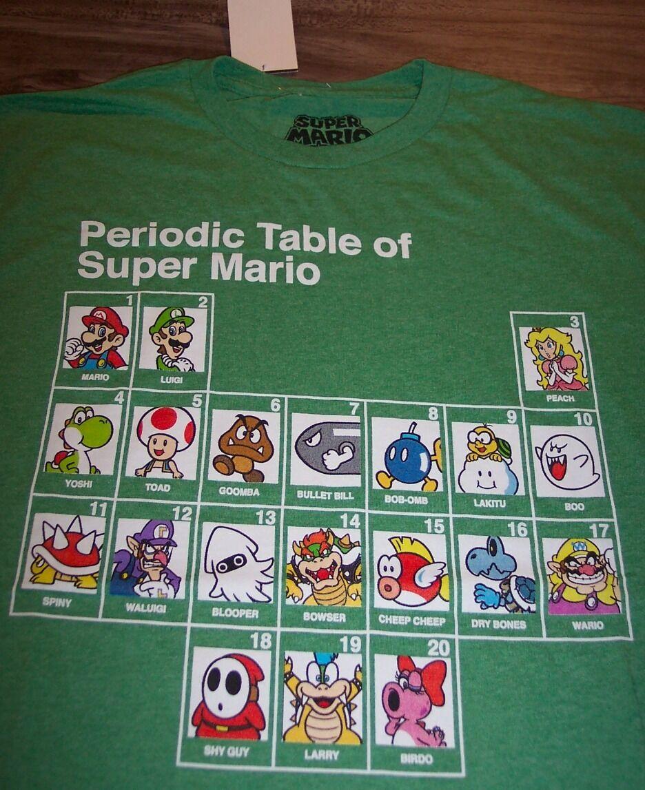 Funny periodic table of super mario nintendo t shirt medium ebay picture 1 of 3 gamestrikefo Images