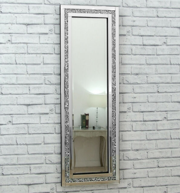Gatsby crystal silver glass framed full long bevelled wall for Long wall hanging mirrors
