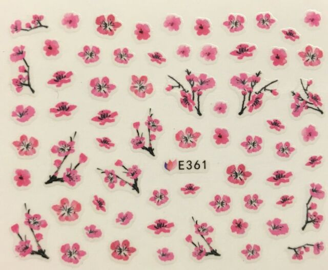 Nail Art 3d Decal Stickers Japanese Cherry Blossom Flower Tree Pink ...