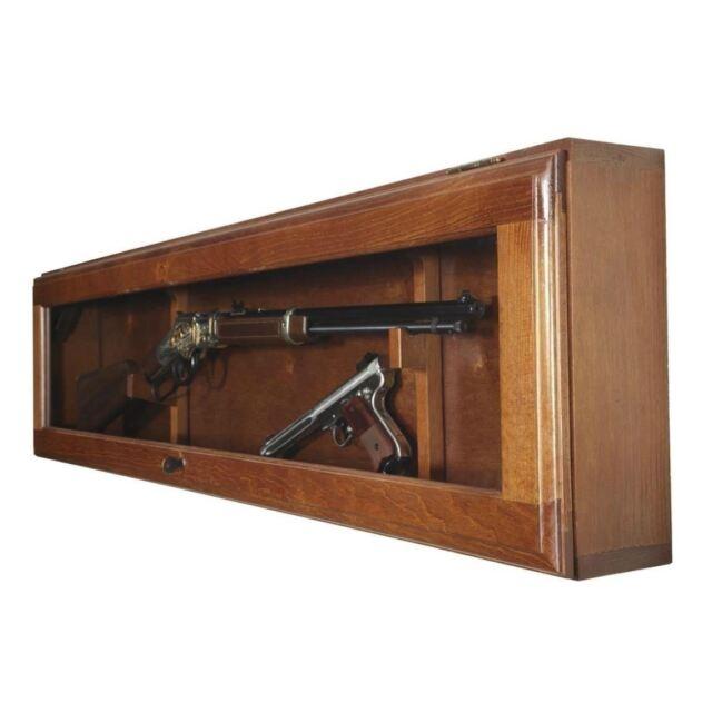 Gun Display Cabinet Glass Door Wall Mount Horizontal Case Rifle Shotgun S