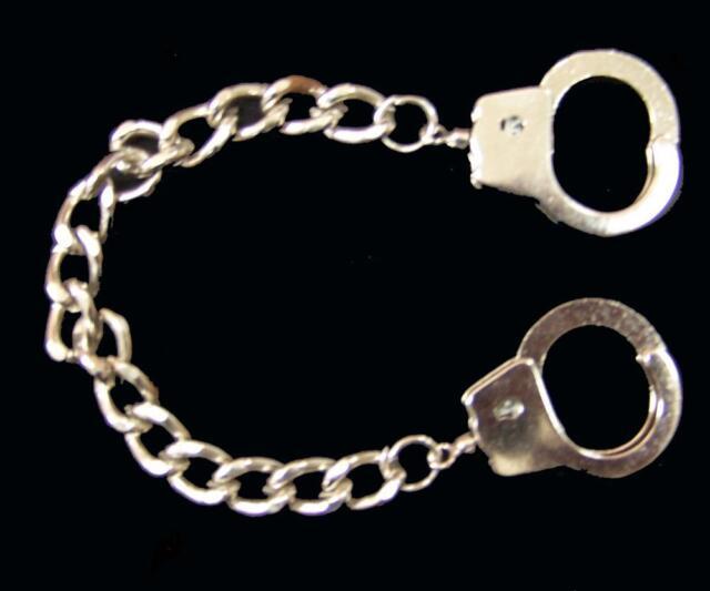 Finger Handcuff Bracelet W 7 Inch Chain Mens Women Jewelry Silver Handcuffs
