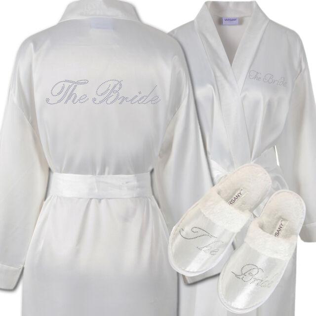Rhinestone The Bride Satin Bathrobe & Spa Slippers Set Kimono ...
