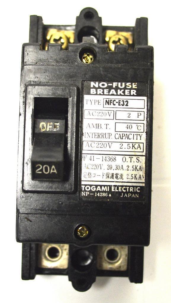 Togami Electric Nfc-e32 2-pole Circuit Breaker 20 Amp 220 VAC | eBay
