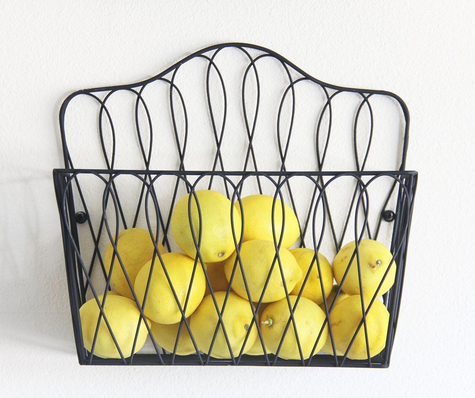 Wall Mount Storage Magazine Rack Holder Fruit Basket Home Kitchen ...