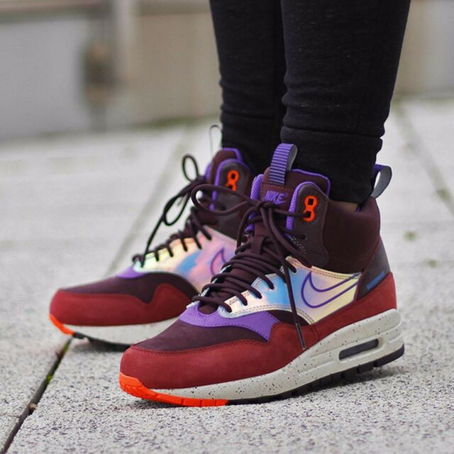 Nike WMNS Shoes Air Max 1 Mid Sneakerboot 685269-600 Size 7 Deep Burgundy
