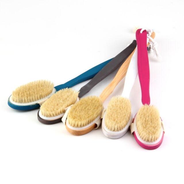 Natural Long Wood Wooden Body Brush Massager Bath Shower Back Spa Scrubber CGSFR