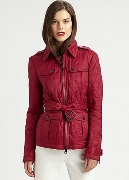 Burberry Brit Toppling Quilted Jacket Fritillary Pink Sz L | eBay : red burberry quilted jacket - Adamdwight.com